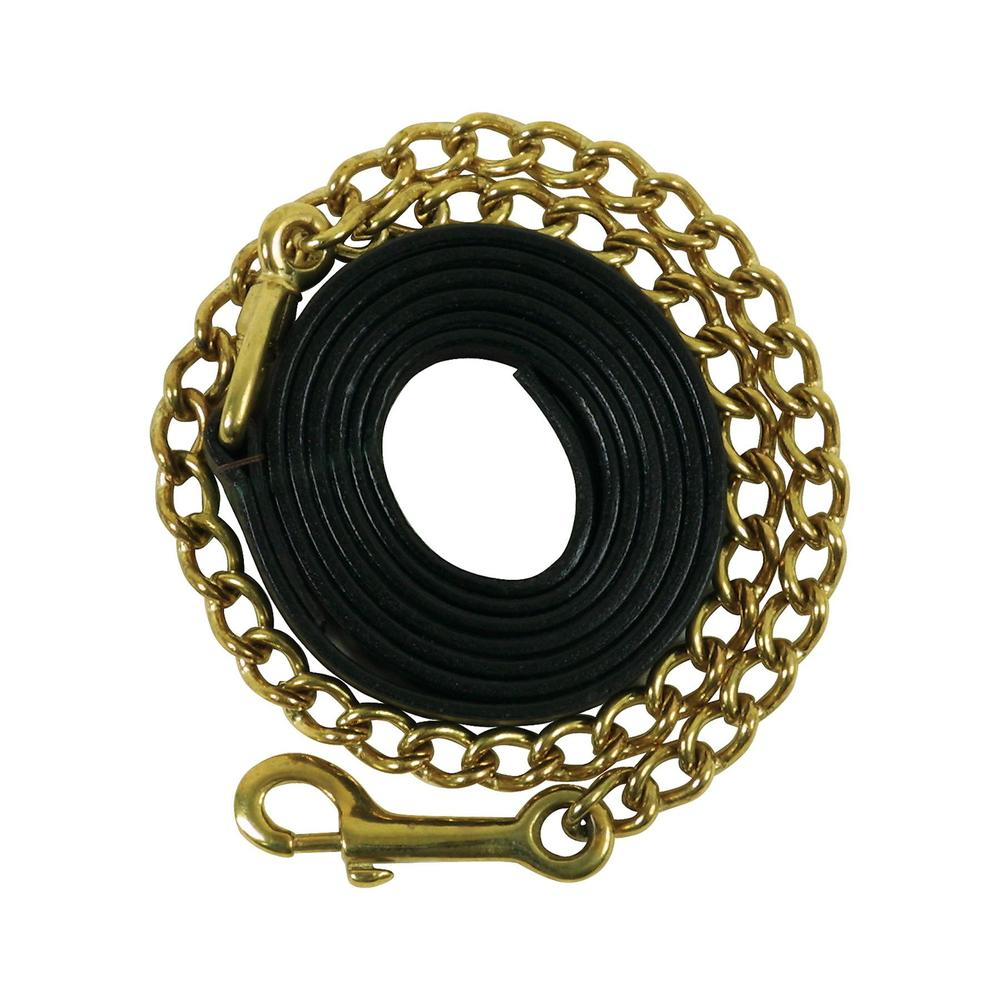"Premier Leather Lead with 24"" Brass Chain"
