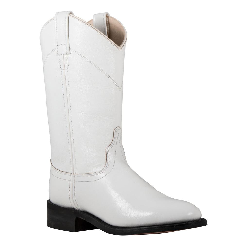 Old West White Dyeable Leather Roper Western Boots