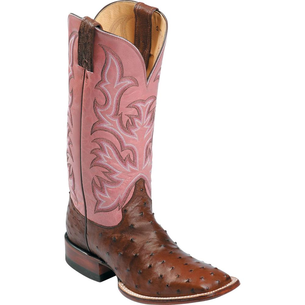 Justin Ladies Remuda Full Quill Ostrich Boots - Antique Brown/Pink