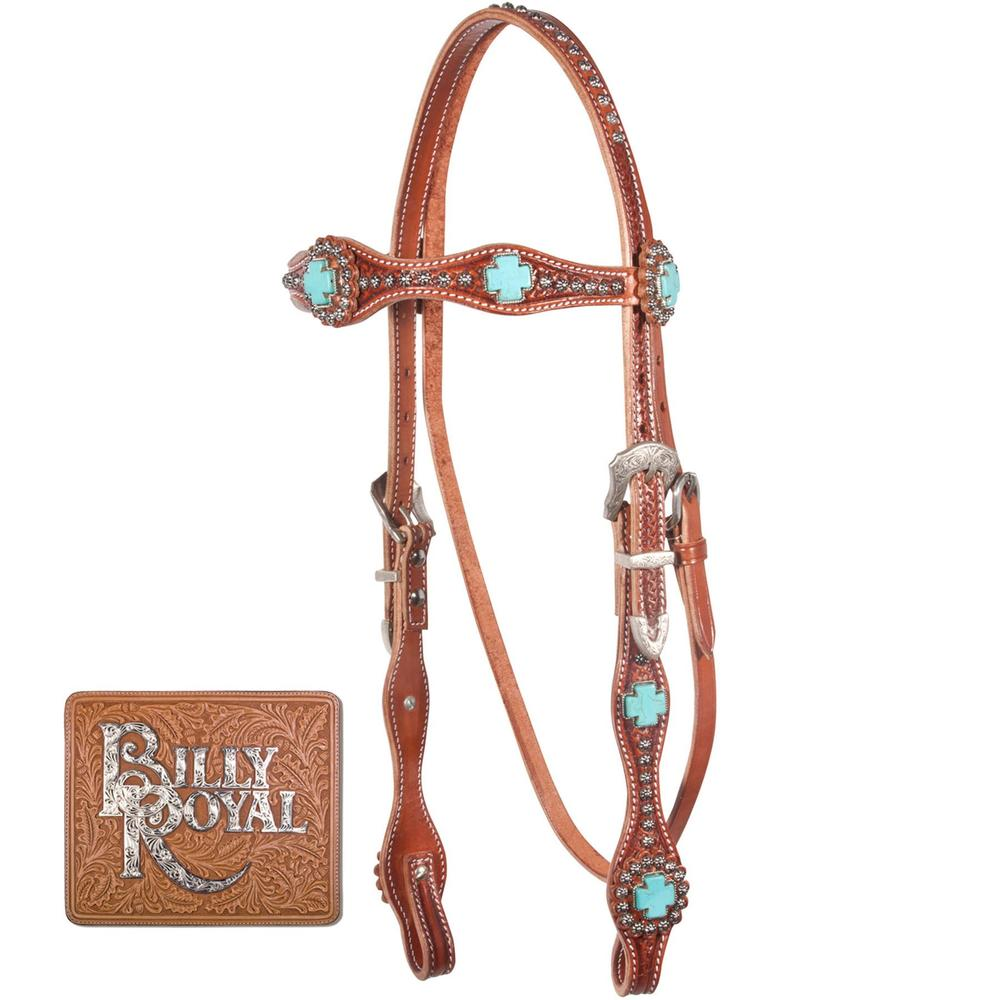 Billy Royal® Bling Turquoise Rosette Browband Bridle