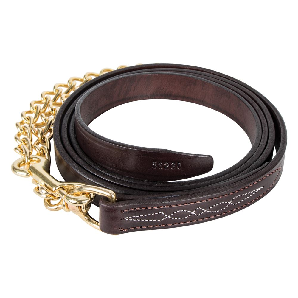 "Walsh™ 6' Leather Lead with 30"" Brass Chain"