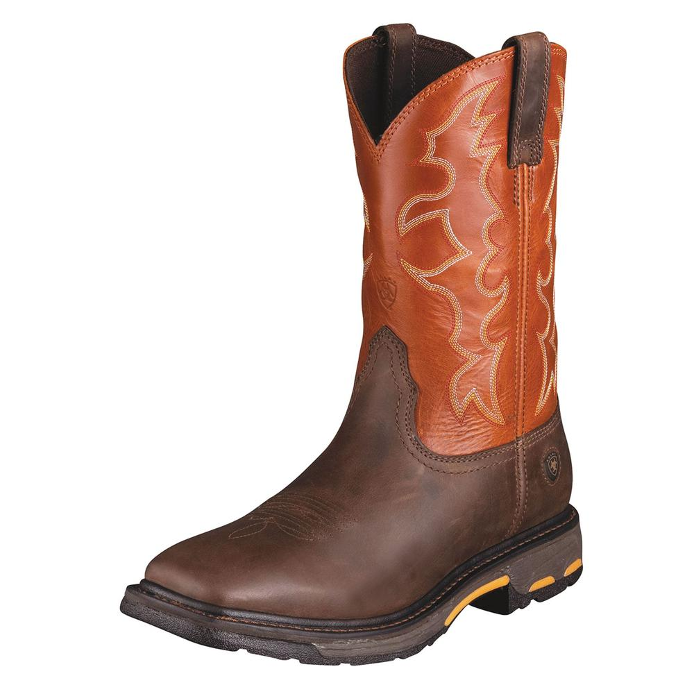 Ariat Mens Workhog Wide Square Toe Dark Earth/Brick Boot