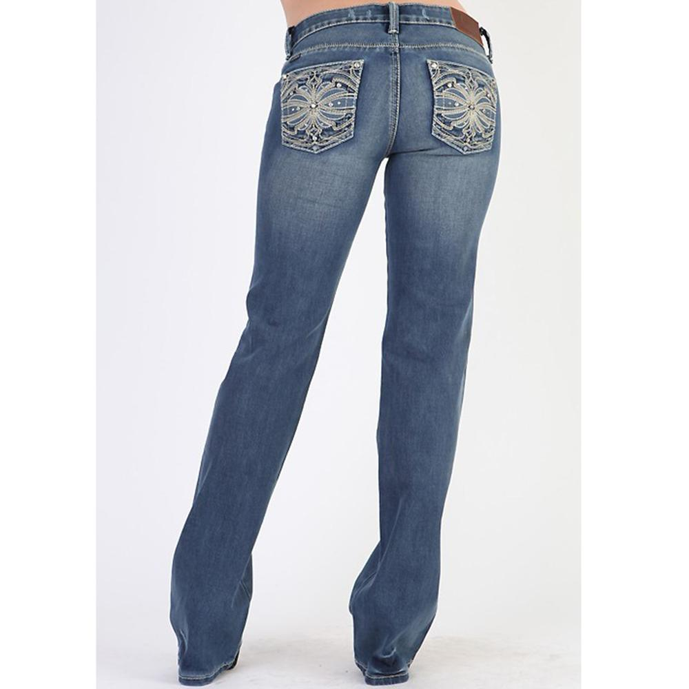 Adiktd Ladies Indigo Flower Jeans