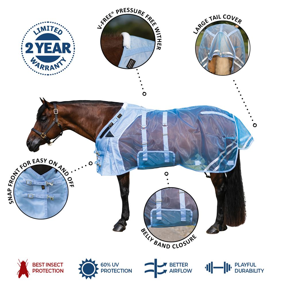 Mosquito Mesh Fitted V-Free® Bellyband Fly Sheet - Open Front