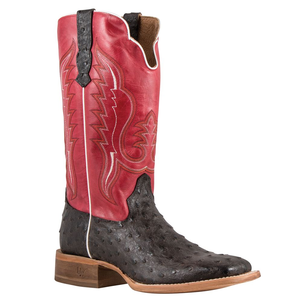 Old West Men's Outlaw Chocolate Ostrich Print