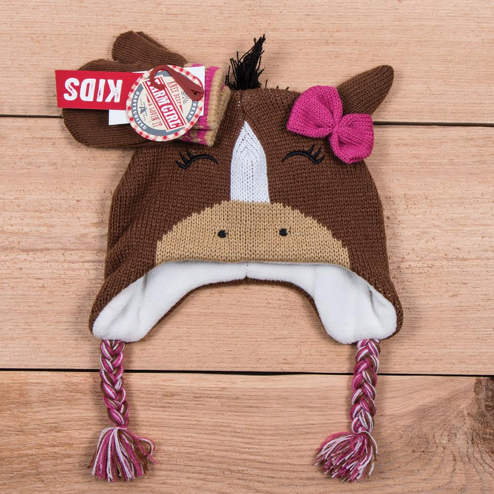 Farm Girl Horse Hat/Mitten Set