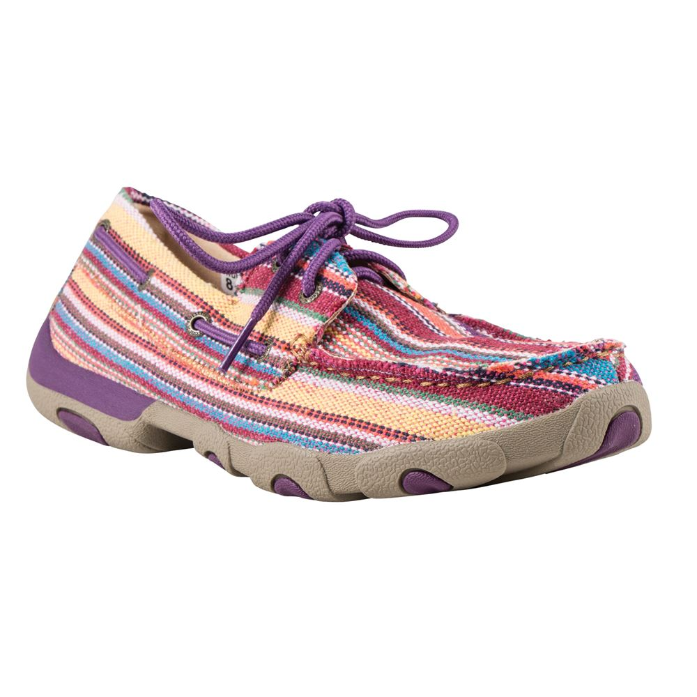 Twisted X Ladies Purple Multi Canvas Moccasin