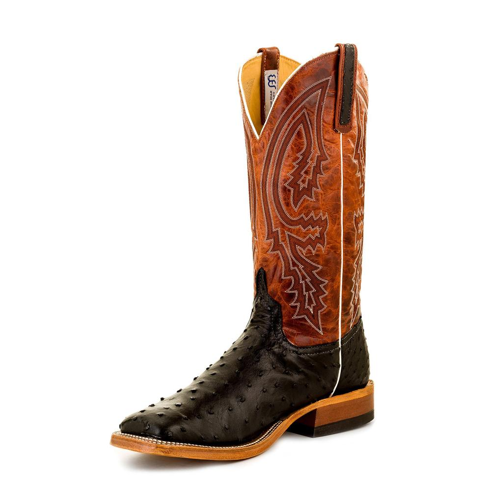 Anderson Bean Men's Black Full Quill Ostrich Western Boots