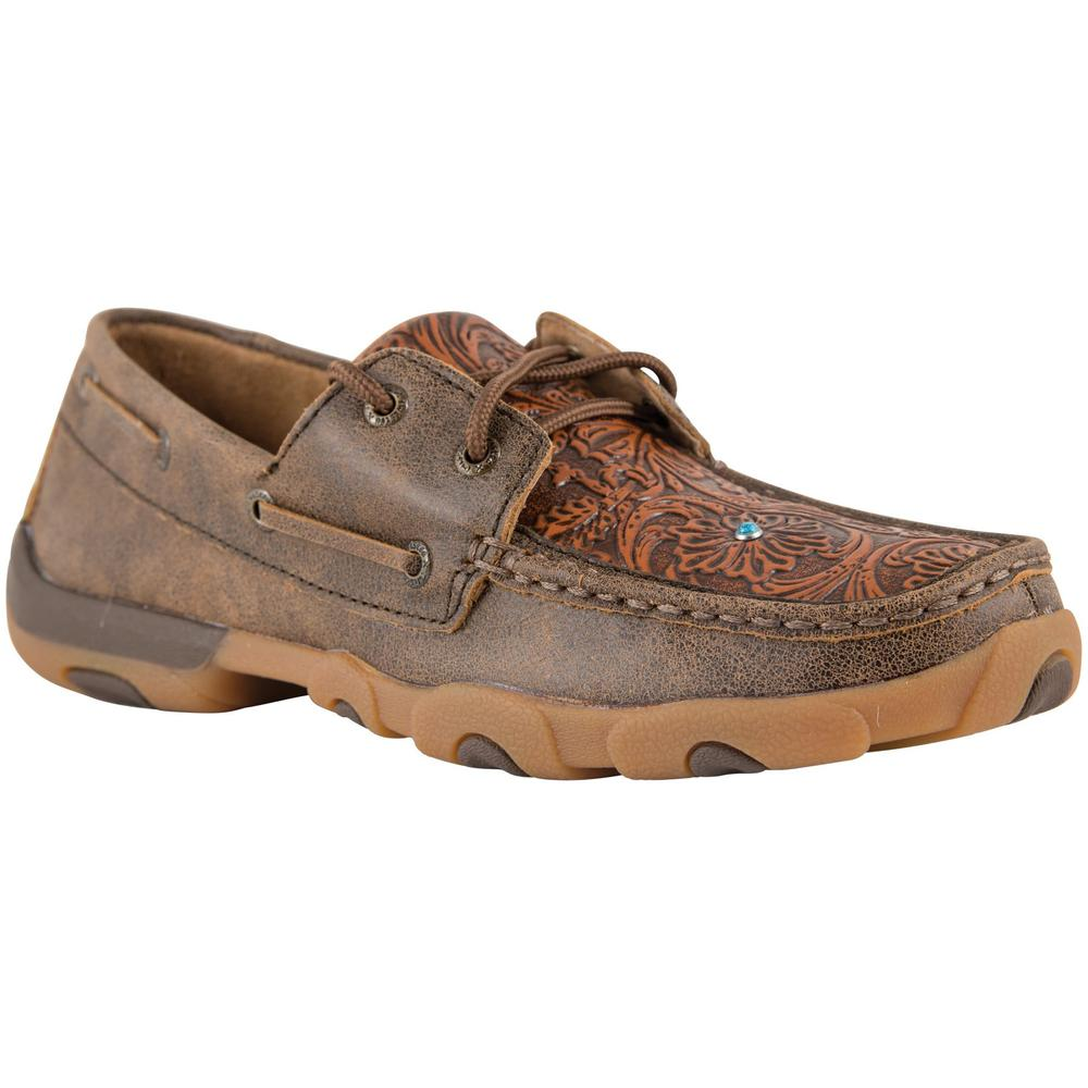 Twisted X Women�s Brown Tooled Flower Driving Mocs