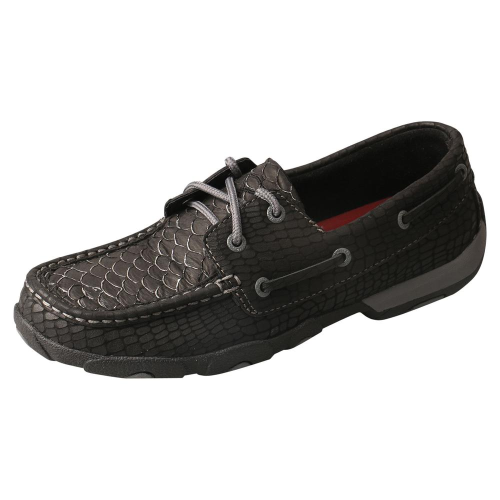 Twisted X Womens Black Fish/Grey Driving Mocs