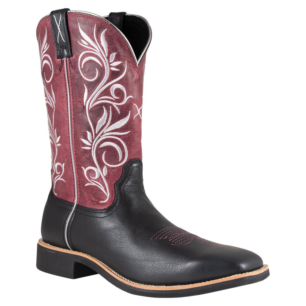 Twisted X Women�s Top Hand Black/Maroon Western Boots