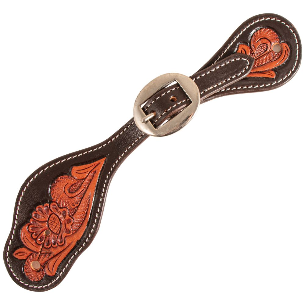 Double S Acorn Tooled Shaped Spur Straps