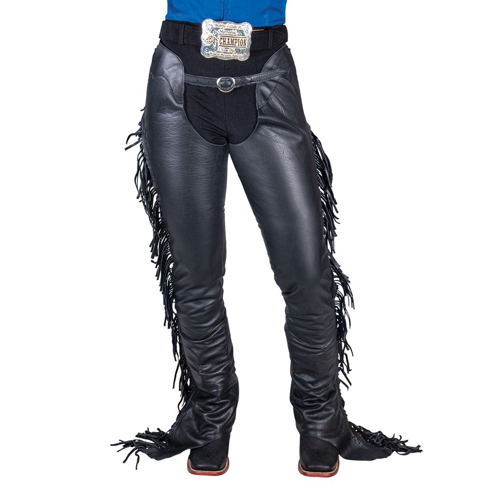 Tough 1 Smooth Leather Show Chaps w/ Fringe