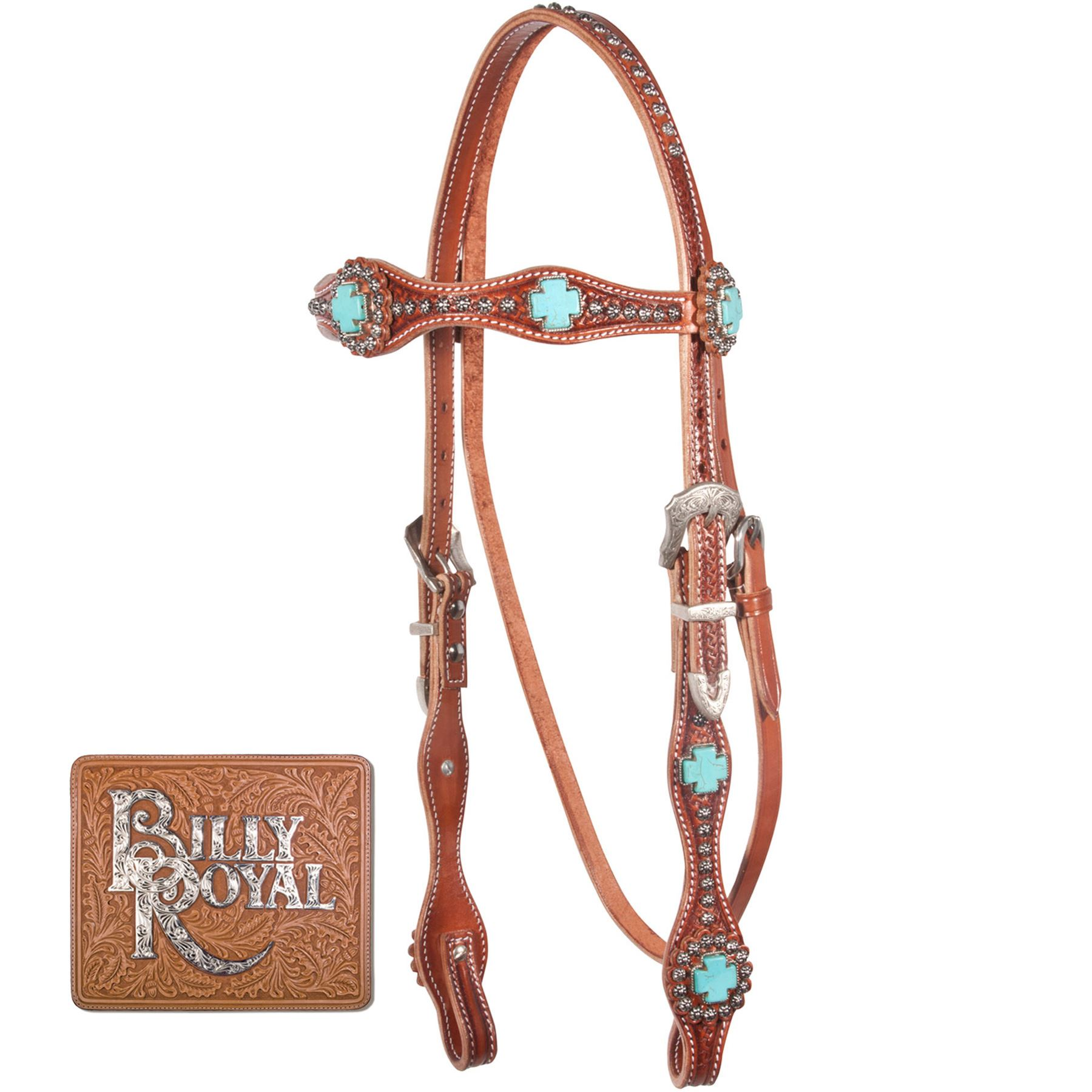 Billy Royal Bling Turquoise Rosette Browband Bridle Schneiders Saddlery