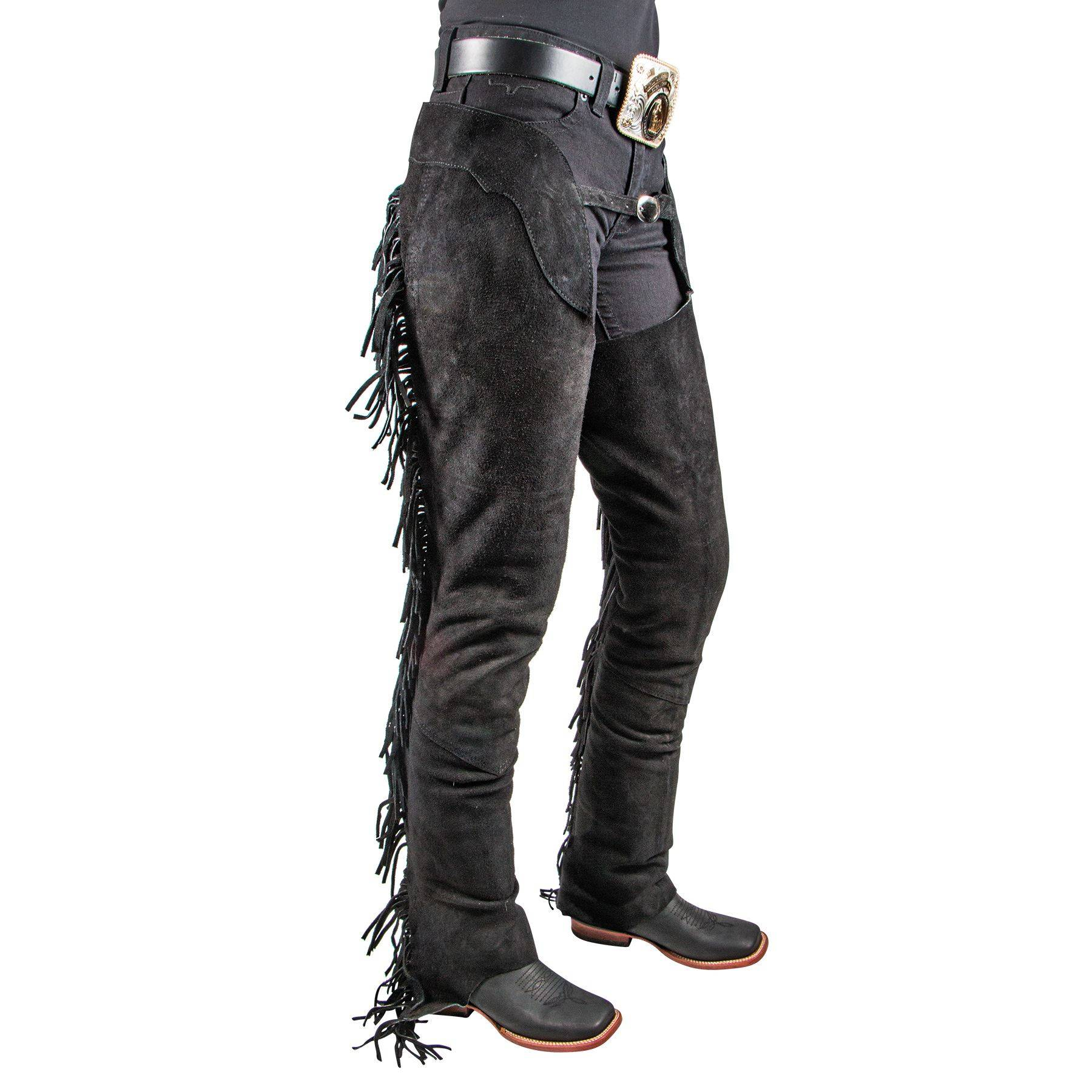 Western Riding SHOW CHAPS Suede Leather FRINGE down both Legs /& SILVER Concho
