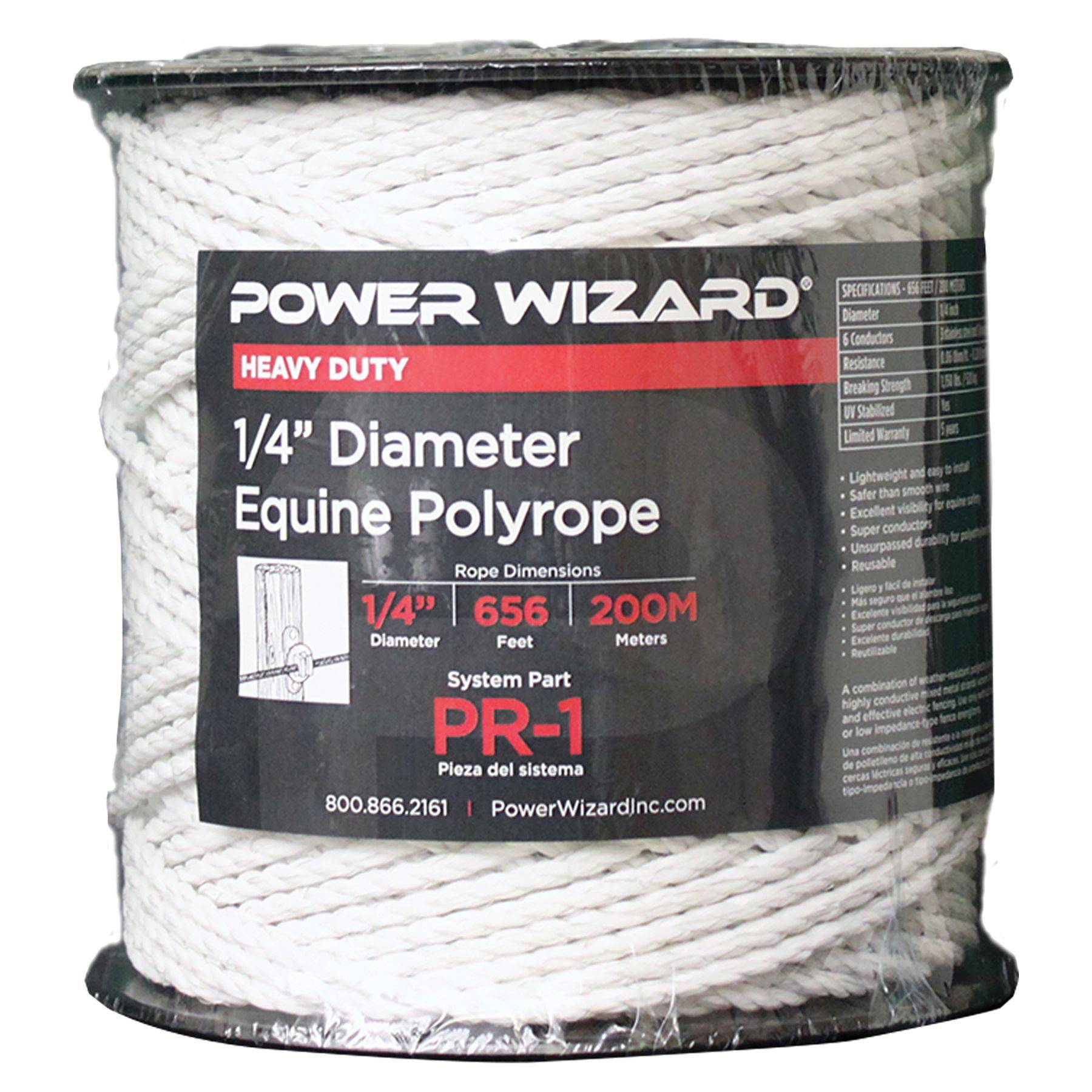"Electric Horse Fence 1//4/"" Poly Rope White 656/'"